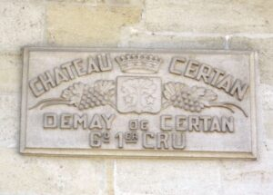 Certan de May cement sign 300x215 Chateau Certan de May Pomerol Bordeaux Wine, Complete Guide
