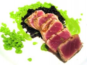 Ahi with Pea Caviar1 300x224 Ahi Tuna, English Pea Caviar, Forbidden Rice, Bordeaux Wine