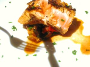 Salmon Shadow 300x225 Pan Roasted Salmon Rhone Wine, slow cooked winter vegetables wine food match
