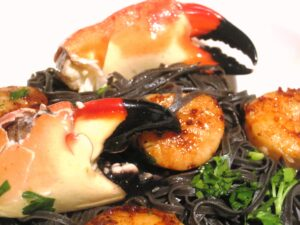 Squid Ink Shellfish 300x225 Squid Ink Pasta with Shellfish and Wine, Food and Wine Pairing