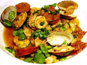 clams rock shrimp 300x225 Shellfish with Chorizio, Fava Beans and Chateauneuf du Pape