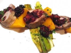 pork Squash berries 300x224 Roasted Pork Rib Cap Cote Rotie Wine and Food Pairing