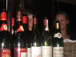 Ledbury bottles girls1 300x225 Chateauneuf du Pape Rhone Wines in London at The Ledbury