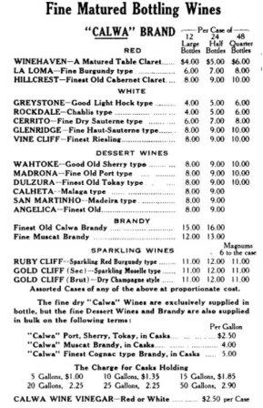 Vintage Napa Wine Price List Complete Valley California History From Early 1800s To Today