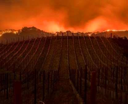 Raging Fires Burning through Napa Valley and Sonoma County